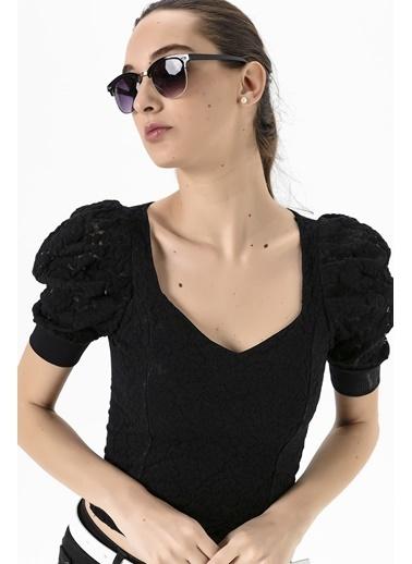 Emjey Dantellı Balon Kol Bluz Siyah